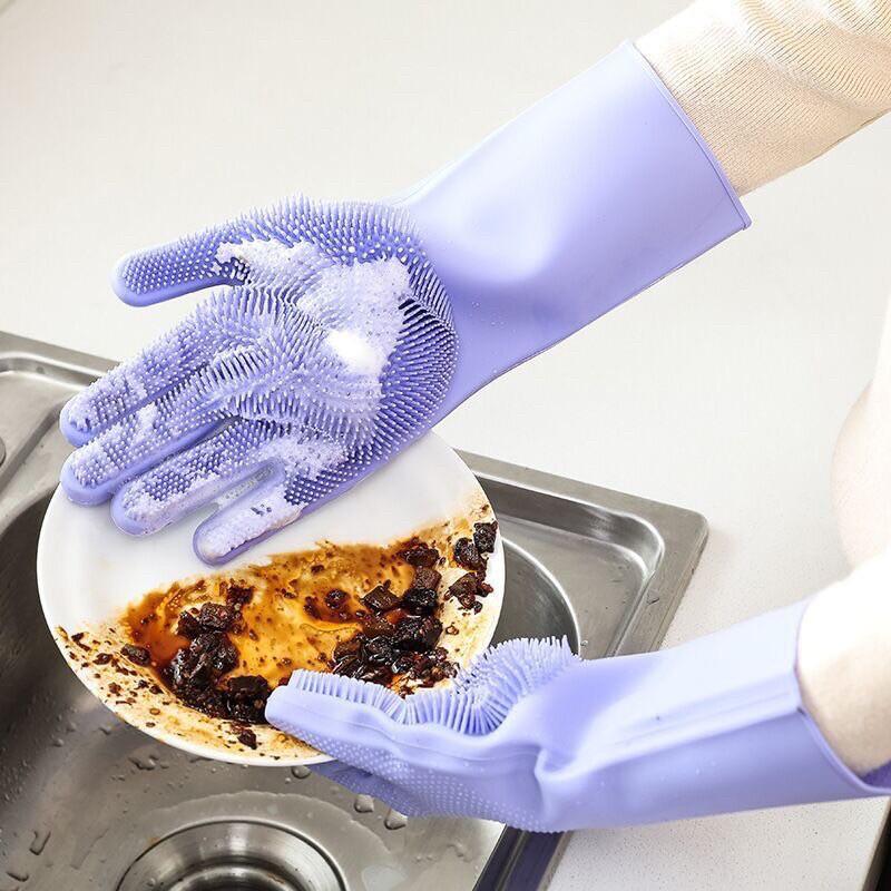 B114 combo 2 đôi Găng tay rửa bát chén có gai tạo bọt, găng tay cao su silicon dẻo dai chịu nhiệt, bảo vệ an toàn da tay
