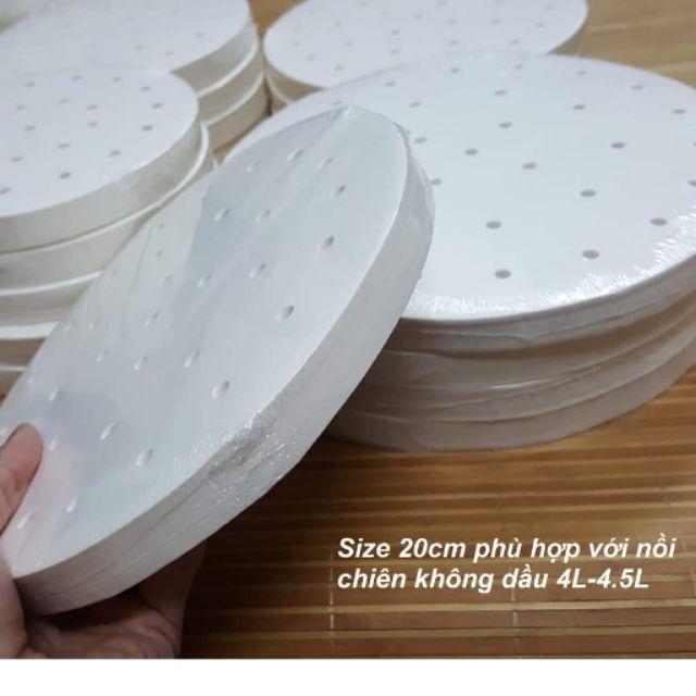 Tệp 400 tờ giấy nến 20cm 23cm dùng cho nồi chiên không dầu