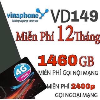 [MIỄN PHÍ ship] Sim 4G Vina VD149 Miễn Phí Data 4GB 1 Ngày Và Gọi 12 Tháng Không Cần Nạp Tiền