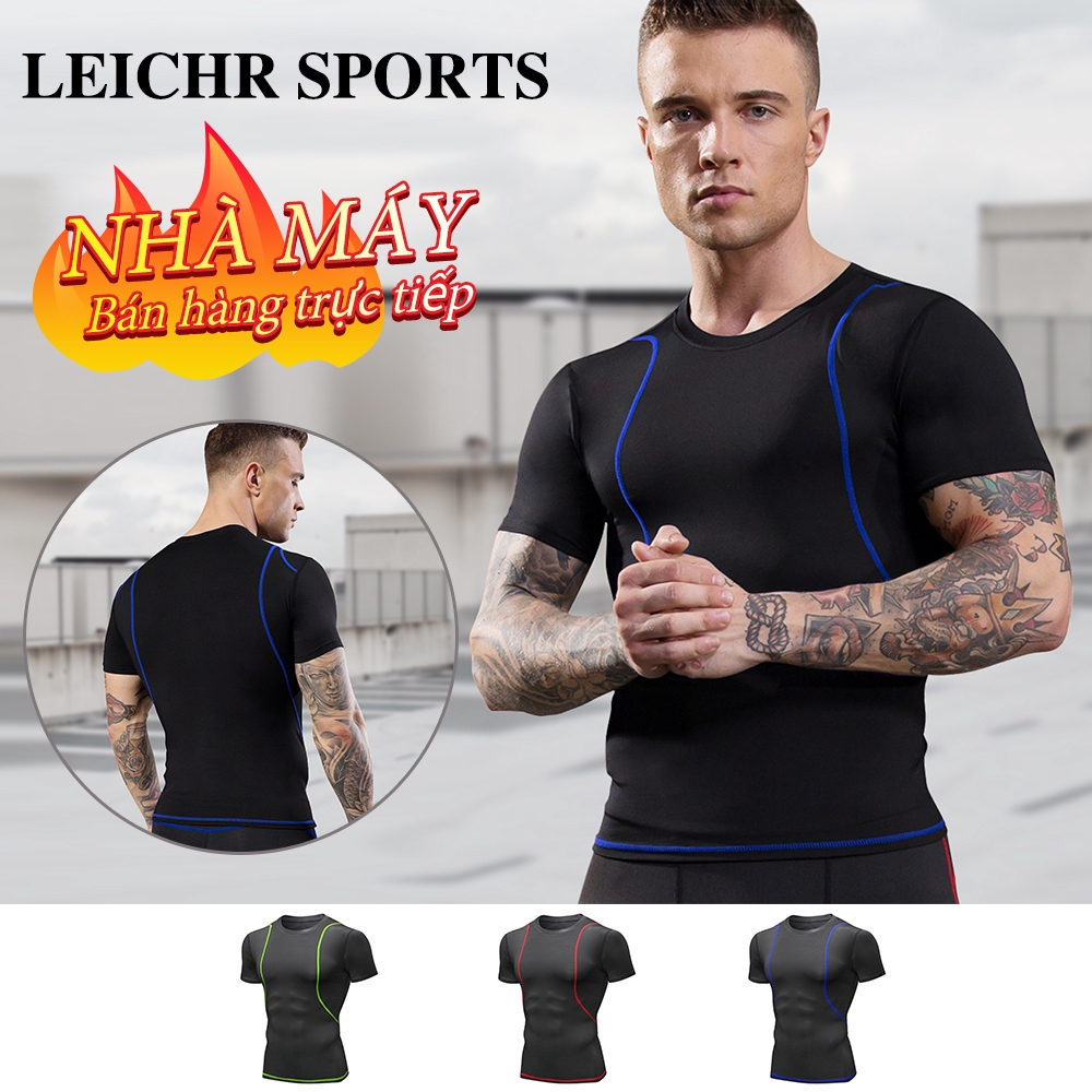 LEICHR SPORTS Men's fitness short-sleeved outdoor sports T-shirt running training tight-fitting breathable quick-drying three-dimensional cut Black Blue