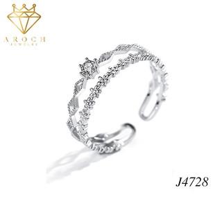 Nhẫn nữ hở freesize,hợp với mọi kích cỡ ngón tay,bạc Ý s925 ren đôi nhỏ xinh J4728- AROCH Jewelry