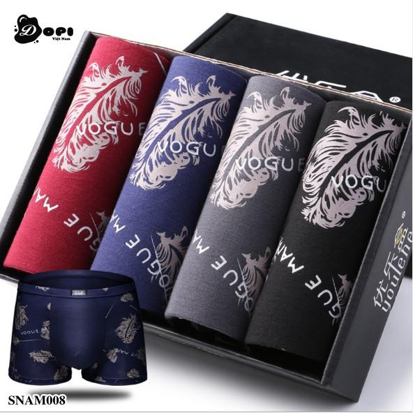 Hộp 4 quần sịp đùi boxer nam họa tiết độc đáo