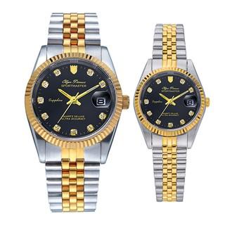 Đồng hồ đôi nam nữ dây kim loại Olym Pianus OP89322 MSK OP68322 LSK mặt đen thumbnail