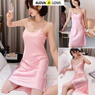 Hình ảnh Váy ngủ 2 dây lụa satin cao cấp 4Lova mềm mịn, quyến rũ-5