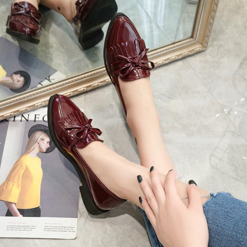 Giày Búp Bê Nữ Mũi Nhọn Đính Nơ Xinh Xắn