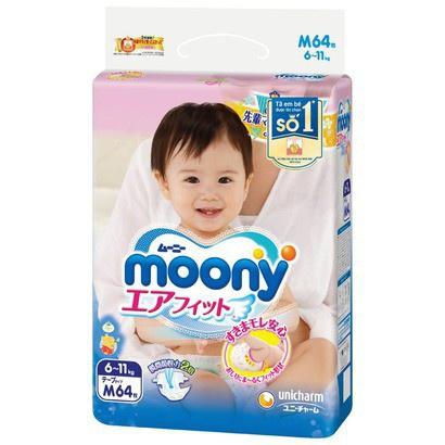 Tã/Bĩm Dán/Quần Moony Size NB90/S84/M64/L54/L44/XL38