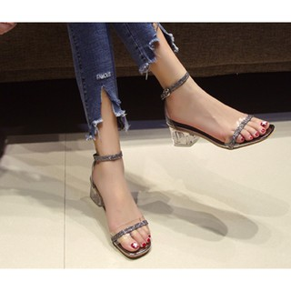 Sandal Cao Gót b32 Dây Nhũ/ Đế Vuông Trong Suốt/ Sandal Kinh Bắt Sáng/ Cao Gót 7cm/