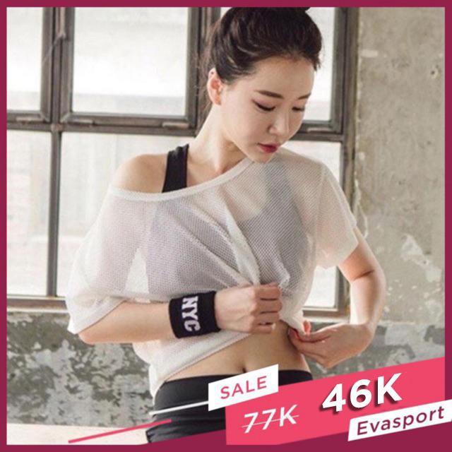 Áo lưới tập gym nữ tập yoga thể thao vải thoáng mát giặt nhanh khô hàng quảng châu mặc tôn dáng  -EvaSport_vn