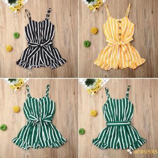 ⓗღ✯3-8 Years Kids Toddler Baby Girl Bodysuit Sleeveless Stripe Romper Jumpsuit Playsuit Sunsuit Clothes Set