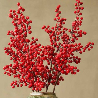 Mô phỏng holtry may mắn trái cây phòng khách nhồi bông đỏ hoa khô hoa năm mới lễ hội trang trí lễ hội vẽ