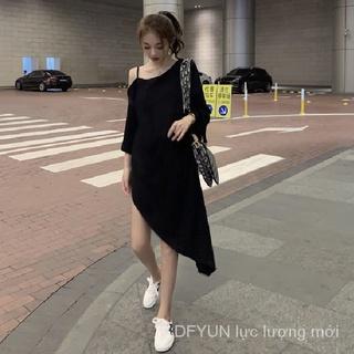 DFYUN Summer New Korean-Style Strap Off-the-Shoulder Irregular Loose-Fit Short-Sleeve TT-shirt Dress Women's
