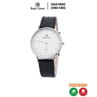 [Mã FARSBR153 giảm 15% đơn 150K] Đồng hồ nam Chính Hãng Royal Crown 7601 Leather Watch (Dây da đen)