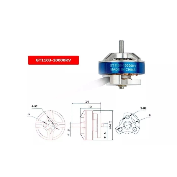 KINGKONG/LDARC GT1103 1103 10000KV 2S Brushless Motor for TINY GT8 2019 V2 FPV Racing Drone 3.8g