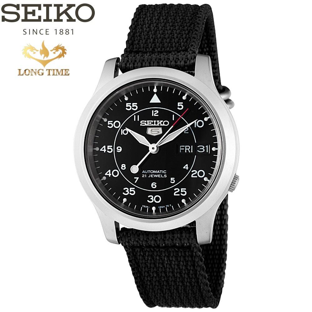 Đồng hồ nam Seiko 5 Quân Đội SNK809K2S - Máy Cơ Dây Nato - Mặt Đen - Chống nước-chốn