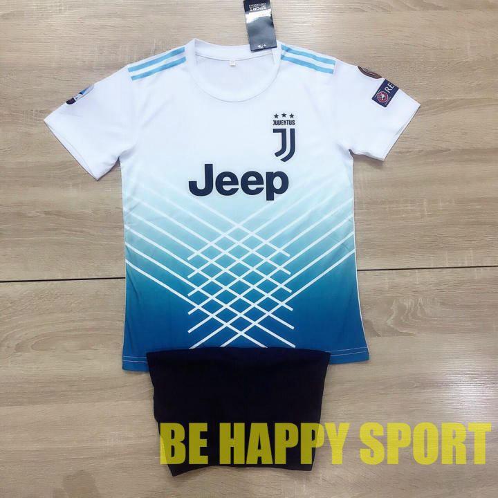 Quần Áo Trẻ Em Juventus Trắng Kẻ Bụng Quần Đen Vải Thun Thái Mặc Mát - Đồ Thể Thao Trẻ Em PP Bởi Be Happy Sport