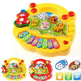 Early Education 1 Year Olds Baby Toy Animal Farm Piano Music Developmental (Red)
