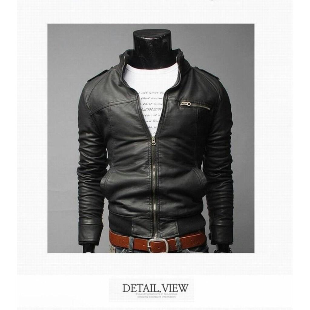 Áo da nam thời trang màu đen