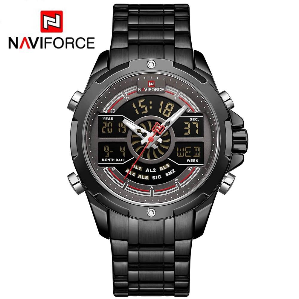 NAVIFORCE NF9170 Men Sport Fashion Stainless Steel Band Analog Digital Watch