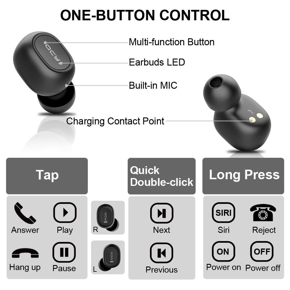 Tai nghe Xiaomi QCY T2C Bluetooth 5.0 không dây giảm tiếng ồn với Mic cho Android/iPhone