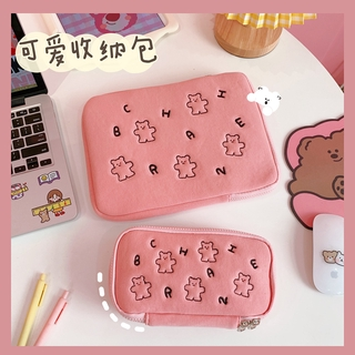 Ins Japanese and Korean Cartoon Bear Embroidered Plush Bag Korean Flat Pad Daily Necessities Hand Bag Cosmetics Storage Bag