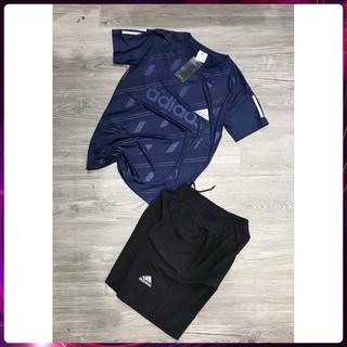 Bộ Hè Nam, Bộ Thể Thao Nam Adidas Cộc tay chất liệu thun lạnh mềm mịn