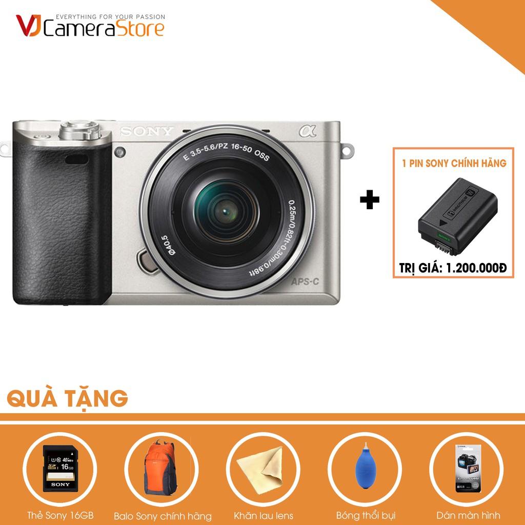 Sony Alpha A6000 + Lens Kit 16-50 f3.5-5.6 OSS (Bạc) - TặngThẻ 16Gb,Pin, Bóng thổi, khăn lau, Balo sony- Chính hãng - 23034239 , 808901938 , 322_808901938 , 12790000 , Sony-Alpha-A6000-Lens-Kit-16-50-f3.5-5.6-OSS-Bac-TangThe-16GbPin-Bong-thoi-khan-lau-Balo-sony-Chinh-hang-322_808901938 , shopee.vn , Sony Alpha A6000 + Lens Kit 16-50 f3.5-5.6 OSS (Bạc) - TặngThẻ 16Gb