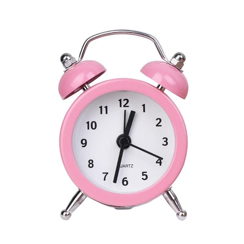 SUP Portable Cute Mini Round Battery Alarm Clock Desktop Table Bedside Clocks Decor