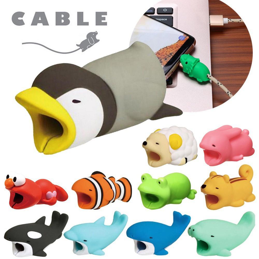 Dụng cụ bảo vệ đầu dây cáp hình động vật dễ thương cho iPhone