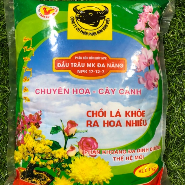 Phân bón Đầu Trâu đa năng NPK 17-12-7 chuyên hoa cây cảnh chồi lá khỏe ra hoa nhiều (hàng cao cấp)1kg
