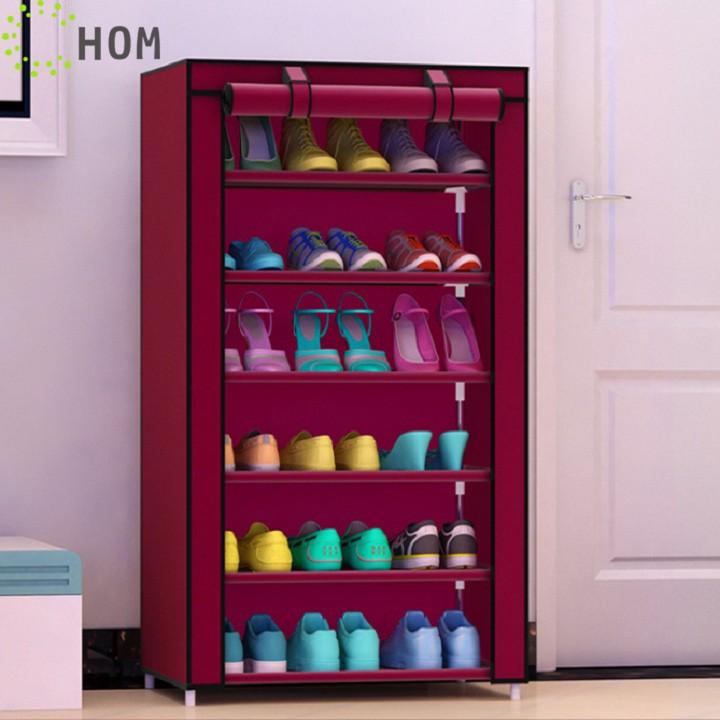 Tủ vải để giày dép 7 tầng 6 ngăn đa năng dễ lắp ráp cửa cuốn chống bụi J0305 - HOM