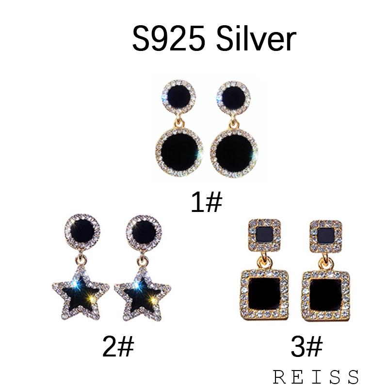 Bông tai mặt hình ngôi sao năm cánh/ tròn đính kim cương giả thời trang Hàn Quốc