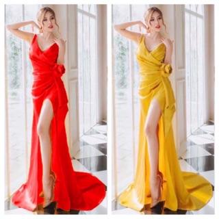 ẢNH VÀ VIDEO THẬT 1000% Đầm dạ hội hoa eo kèm chuổi ngọc