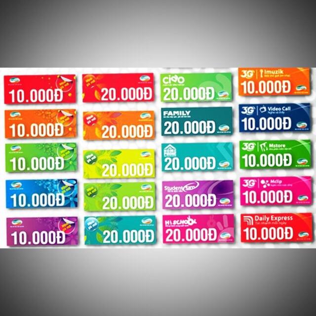 Thẻ cào/ card điện thoại mobi,vina, viettel