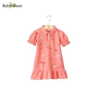 Đầm Thun Cotton Cổ Bẻ Tay Phồng Vạt Đuôi Cá in Trái Tim bé gái BabyBean (8kg - 20kg) thumbnail