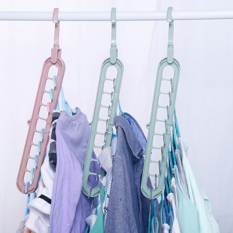Móc treo quần áo đa năng 9 lỗ tiết kiệm diện tích