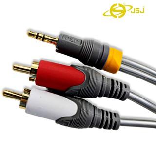 Dây tín hiệu đầu 3 ly (3.5mm) ra 2 đầu bông sen (AV/RCA) JSJ 322A dài 1.5m vỏ PVC, đầu nối mạ vàng, lõi đồng nguyên chất