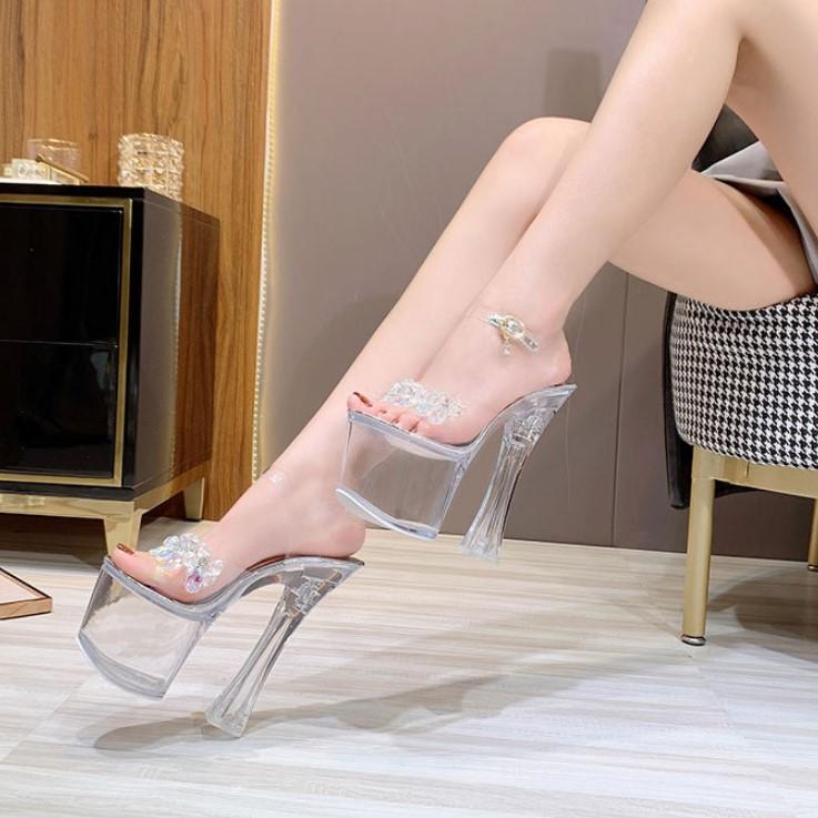 Giày Cao Gót 18 / 20cm Đính Đá Thời Trang Cho Nữ