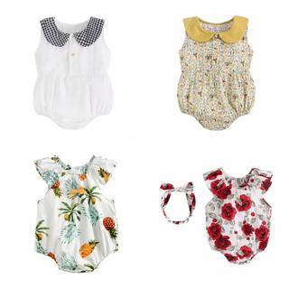 Áo liền quần Sanlutoz bằng cotton họa tiết hoa mùa hè cho bé gái