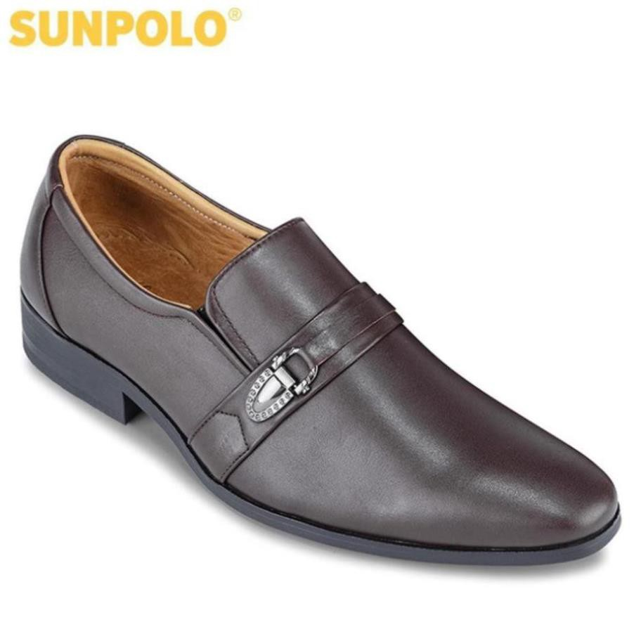 [Sale 3/3]Giày Tây Nam Da Bò SUNPOLO Đen Nâu - SUKT114DN -pi9