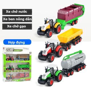 Đồ chơi cho bé xe kéo nông trại gồm 3 xe chở nước, xe ben, xe chở gạo đầu xe hợp kim bền và đẹp thumbnail