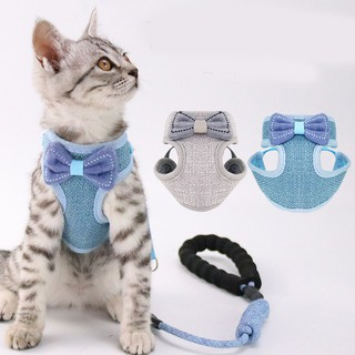 Dây dắt mèo chó đi dạo kết hợp áo vest tây với thắt lơ cá tính đan dù thoáng khí cho Anh Hoàng 2 màu (ghi-xanh lam) thumbnail