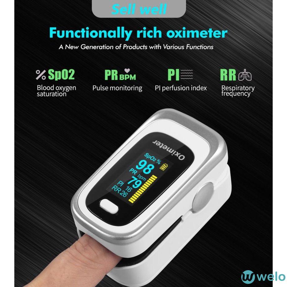 【in stock】Máy đo nồng độ oxy trong máu thiết kế gắn đầu ngón tay chất lượng cao oximeter welo
