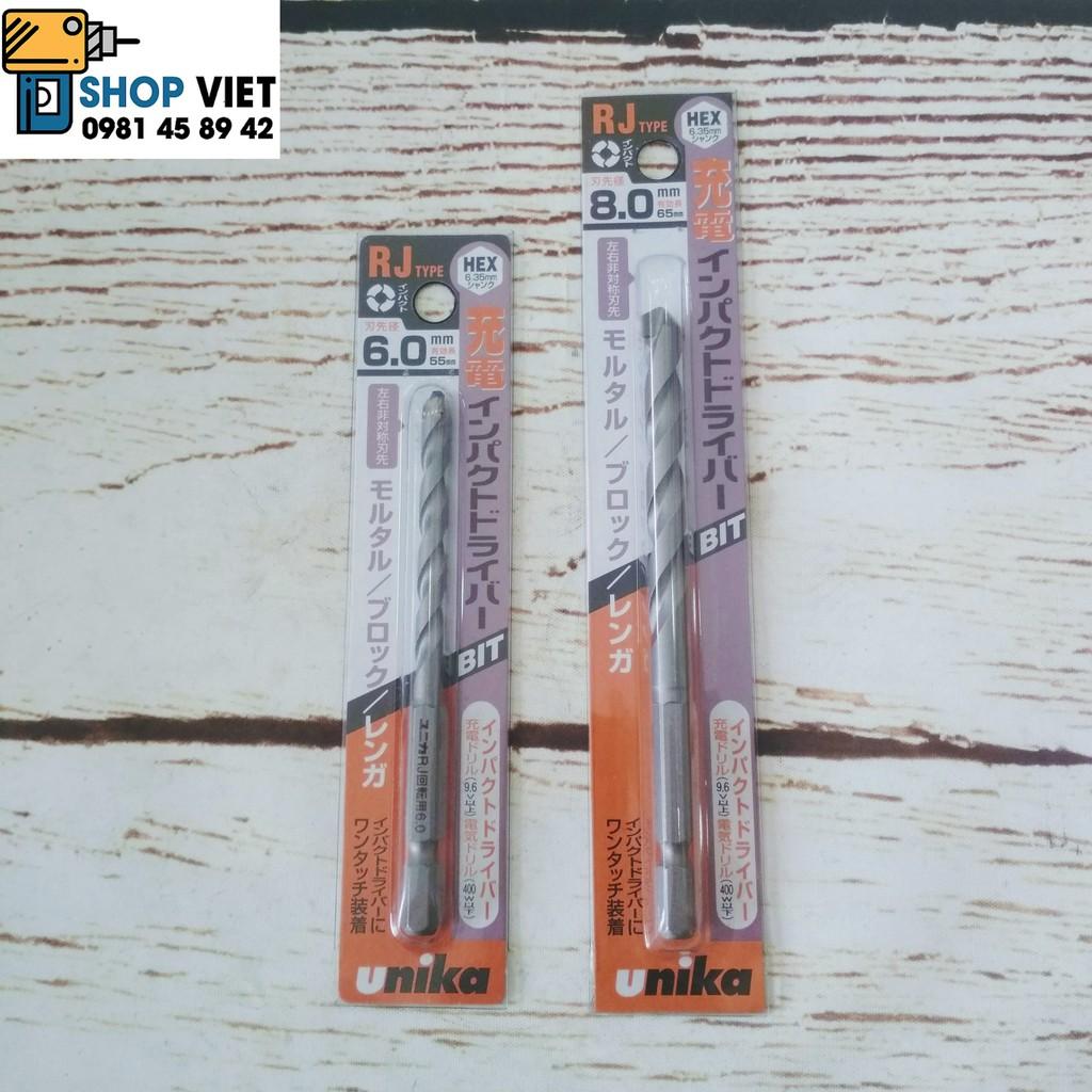 SV Bộ mũi khoan tường Unika RJ 6mm, 8mm và 10mm chuôi lục giác