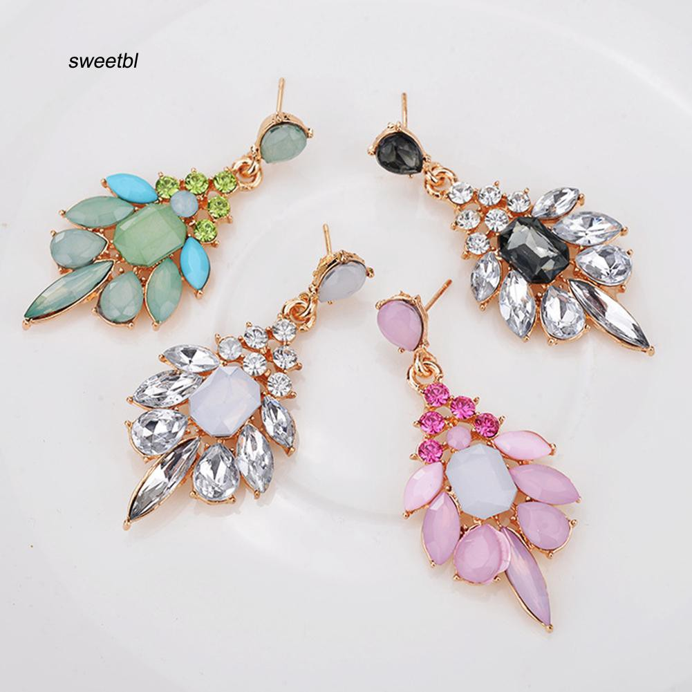 SWTB_Exquisite Women Rhinestone Inlaid Geometric Flower Stud Earrings Party Jewelry