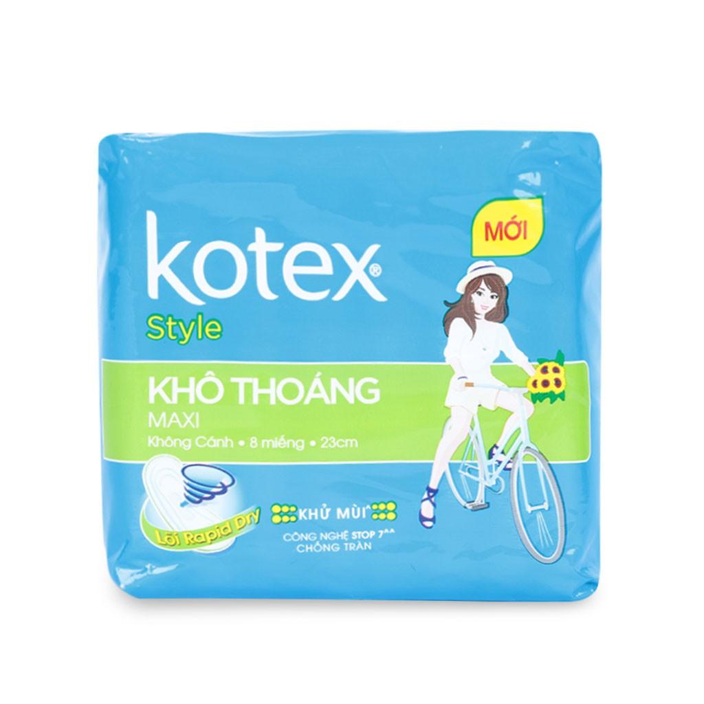 Băng Vệ Sinh Kotex Style Khô Thoáng Maxi Không Cánh Gói 8 Miếng