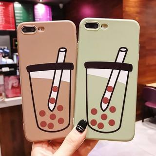 iPhone X Xs Max Xr 7 8 Plus 6 6S Plus Casing Milk Tea Pearl Soft TPU Case