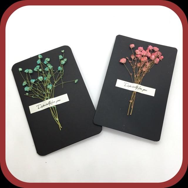 Thiệp gắn hoa khô nhiều mẫu cực xinh - Thiệp hoa khô vintage chúc mừng sinh nhật, đám cưới, 8/3,... siêu ý nghĩa