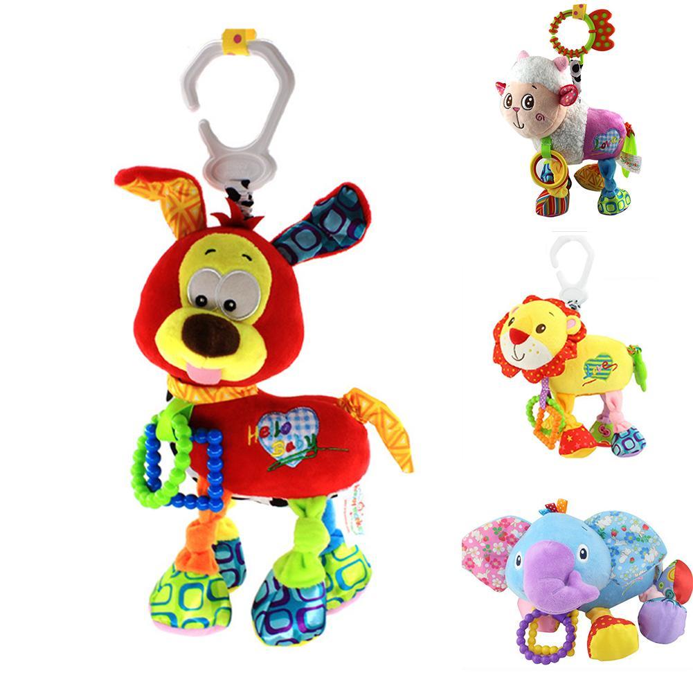 Boys Girls Newborn Baby Bedside Animal Shape Stuffed Toy Educational Cute Hanging Pacified Rattle Plush Doll Shake Soft