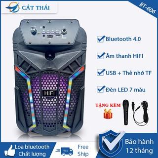 Loa bluetooth BT-606 tặng kèm Micro karaoke thoải mái, remote điều khiển từ xa tiện lợi, âm thanh HIFI, có đèn LED 7 màu