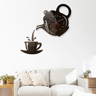 3D DIY Teapot Cup Wall Acrylic Clock Mirror Sticker/Self-adhesive Modern Design Hanging Room Teahouse Decor Clock
